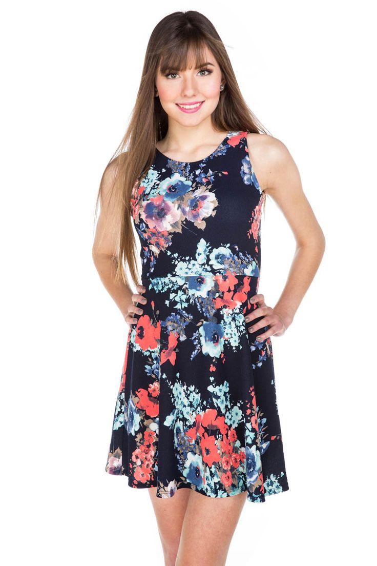 Open Back Floral Skater Dress