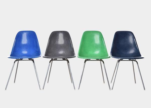 Vintage Eames DSX Set (Medium Blue, Elephant Hide Grey, Kelly Green, Navy Blue) www.joink.nl