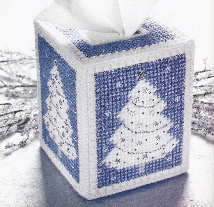 White Christmas Tissue Box Cover Plastic Canvas Pattern - Plastic Canvas Patterns