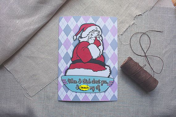 Christmas Card Santa Elf Funny Christmas Card Mature by sylvannest, $6.00