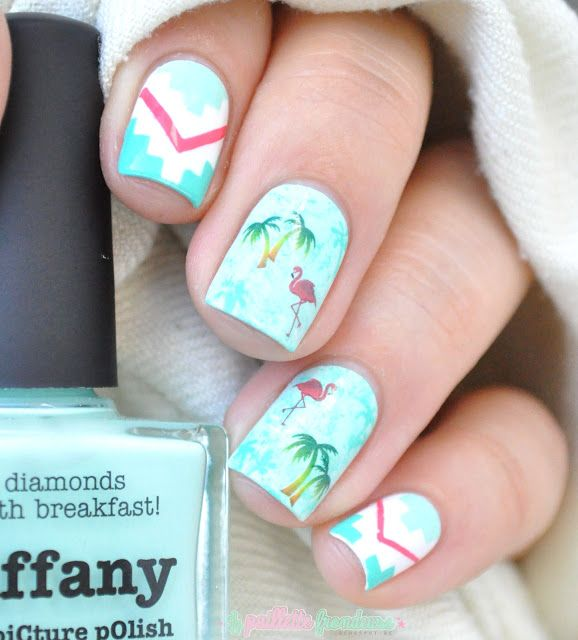 Palm trees and flamingos - Vans inspiration nail art - tropical nails http://lapaillettefrondeuse.blogspot.be/2015/07/palm-trees-and-flamingos-vans.html