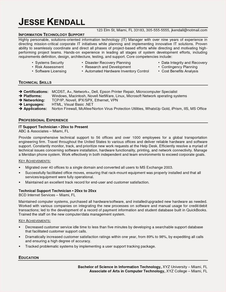Information technology resume examples technology resume