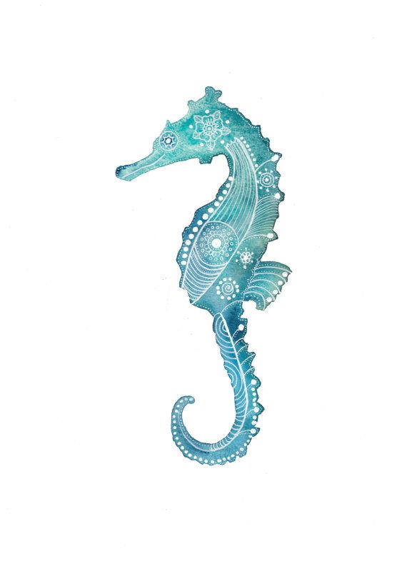 Hippocampe turquoise d'archives Art Print par MagaMerlina sur Etsy