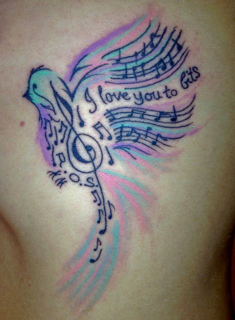 Bird with music notes #tattoo