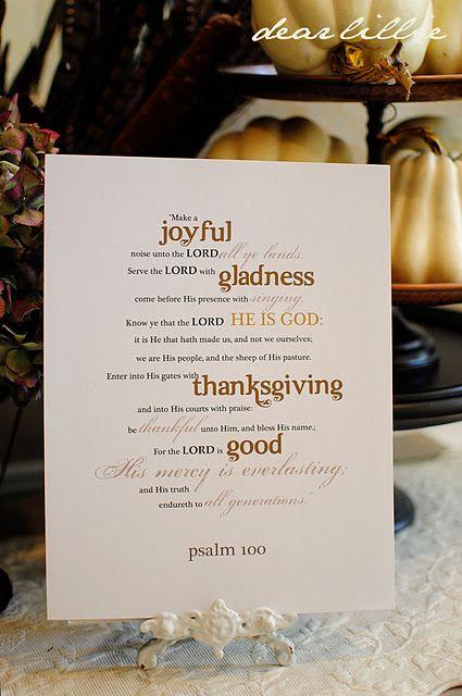 free Psalm 100 Thanksgiving printable #bible #verse #scripture