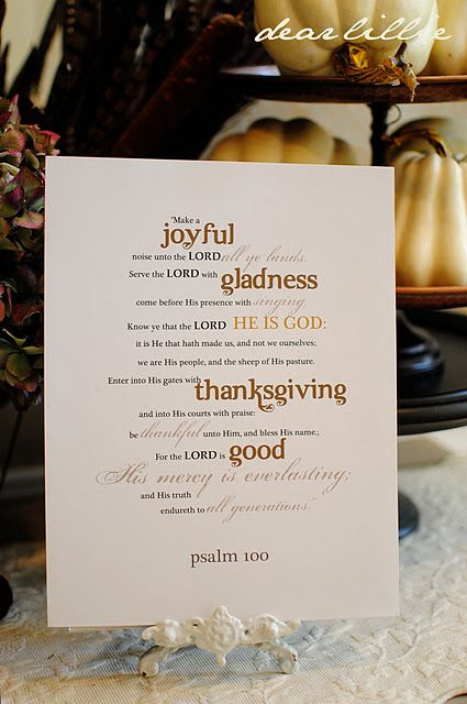 free Psalm 100 Thanksgiving printable #bible #verse #scripture