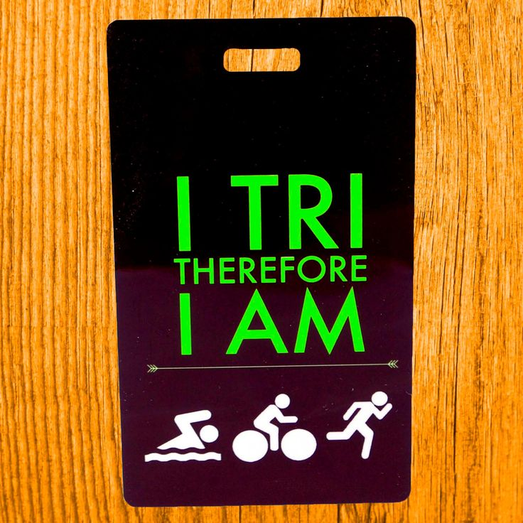 Triathlon Bag Tag Swim Bike Run luggage  gear bag  I TRI therefore I AM sport tag triathlon gift by FlipTurnTags on Etsy
