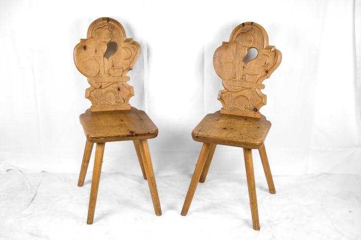 Sedie coppia in cirmolo alto adige anni 1930 1940 h for Divani trentino alto adige