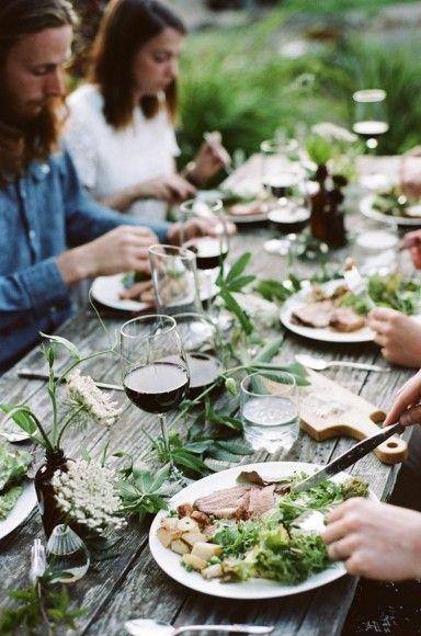 Springtime gathering table.