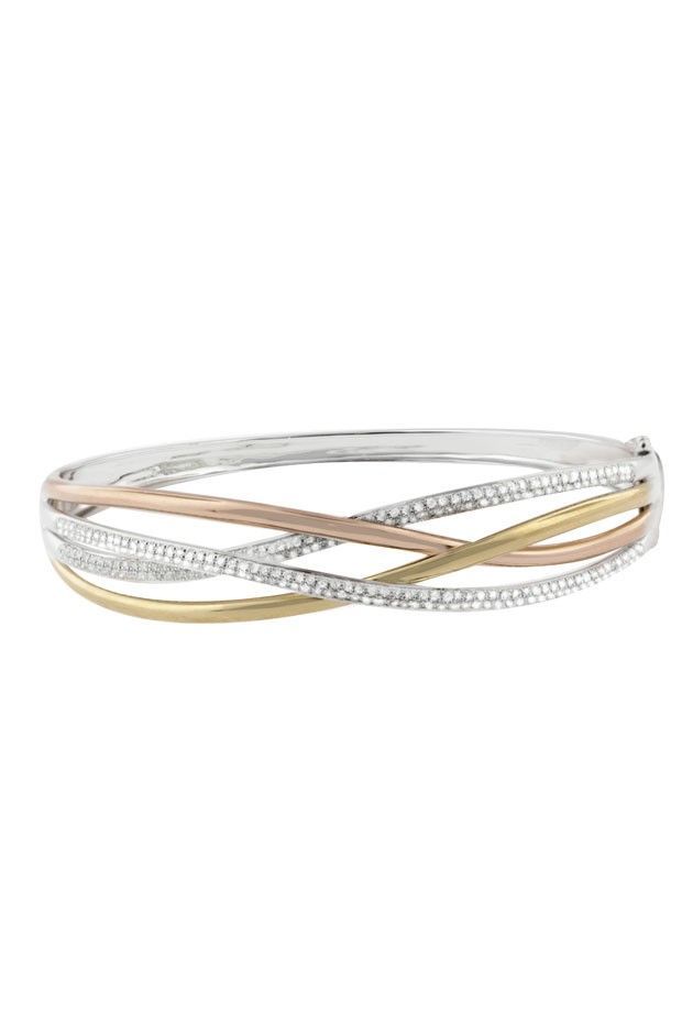 Moderna 14K Gold Tri Color Diamond Bangle, 1.03 TCW
