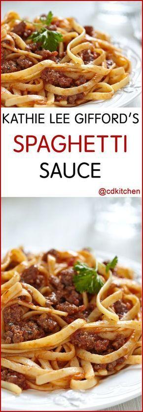 Kathie Lee Giffords' Spaghetti Sauce - Recipe is made with oregano, dried parsley, olive oil, ground beef or turkey, onion, garlic, tomato sauce, tomato paste | CDKitchen.com