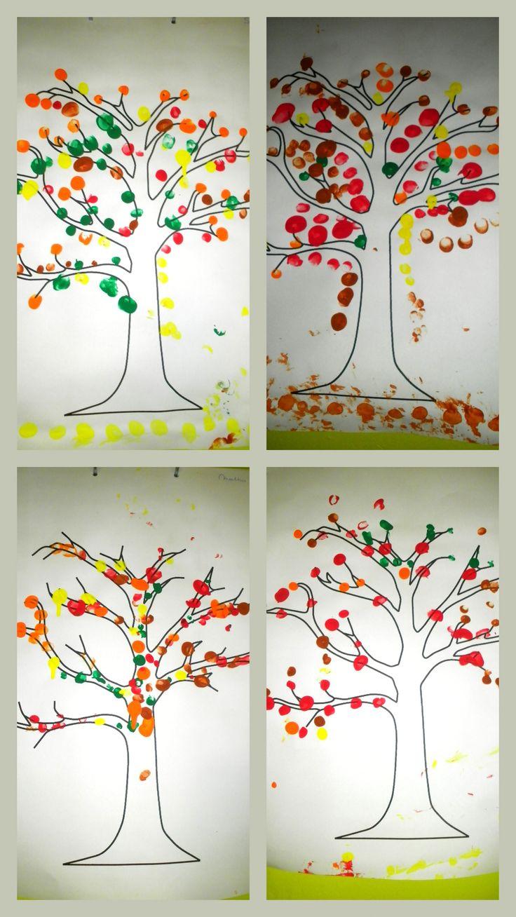 Herfstboom Vingerstempelen Met De Herfstkleuren Op Een