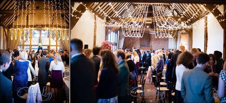 Gathered fairy light canopy for a lovely wedding at Bix Manor barn. Photo credit: Chris Legg