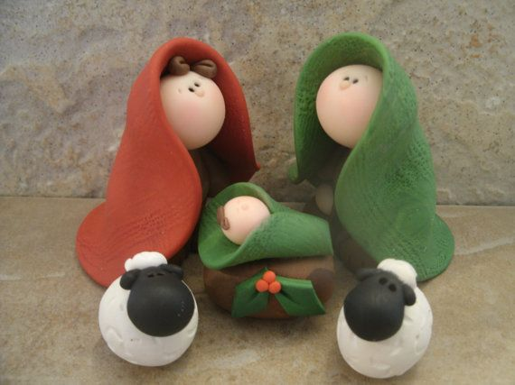 Nativity Set 5 piece by countrycupboardclay on Etsy
