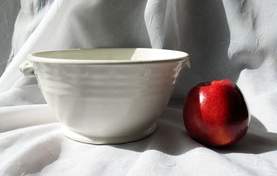 white pottery bowl with handles by rikablue on Etsy, $32.00