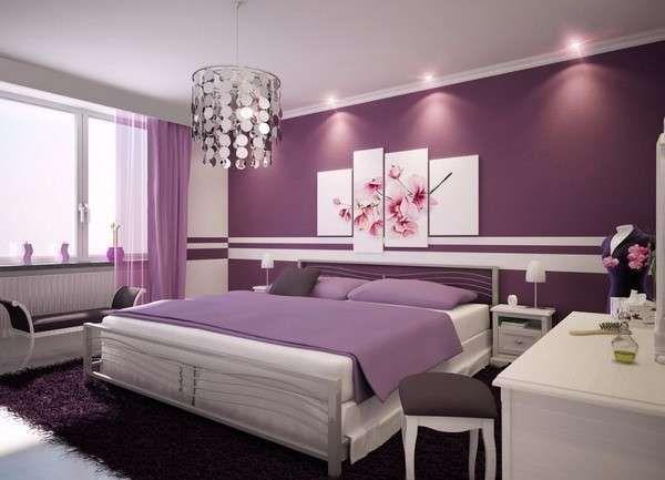 Come scegliere il colore delle pareti della camera da letto - Pareti viola e bianco