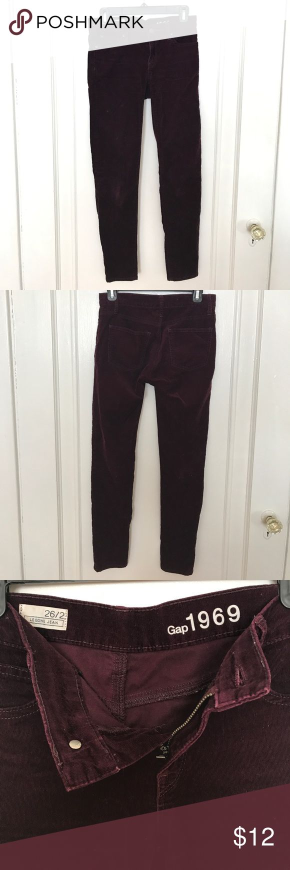 Maroon Corduroy Legging Jean Beautiful maroon/ plum Corduroy Legging Jean by Gap. Size 26/ 2. Skinny fit. In good condition. These are the most comfortable jeans I've ever owned! Have same pants in emerald color available in different listing. No trades please but open to offers. GAP Jeans Skinny