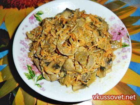Салат из куриных желудков с корейской морковью