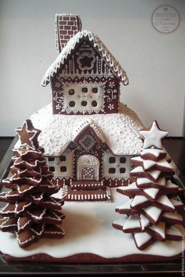 Sophisticated Gingerbread House | 24 Gingerbread House Ideas | Cool And Fun Homemade Treats For Christmas by Pioneer Settler at http://pioneersettler.com/gingerbread-house-ideas/