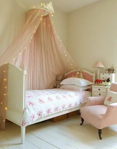 Lavender Grove Girls Room - Emma would love twinkle lights around her canopy :)