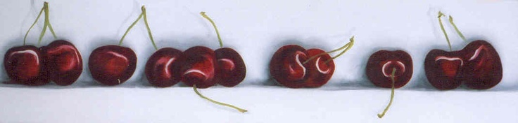 12 cherries, oil on canvas, by Ronda Turk.