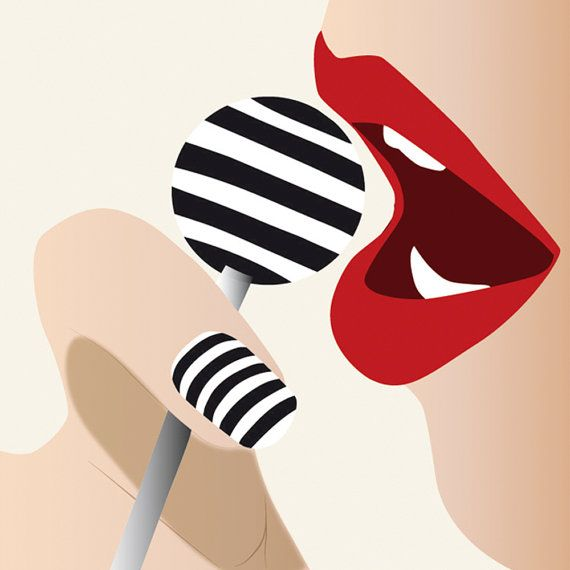 Art Illustration - Pop Culture - Lolipop - Red Lips - Fashion mode d