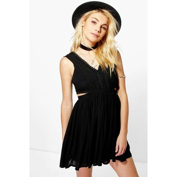 Boohoo Daria Lace Panel Detail Cut Out Skater Dress ($35) ❤ liked on Polyvore featuring dresses, black, skater dress, day to night dresses, evening dresses, cutout bodycon dresses and cut out bodycon dress