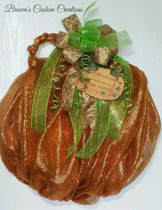 Check out this item in my Etsy shop https://www.etsy.com/listing/242689258/deco-mesh-pumpkin-wreath-burnt-orange
