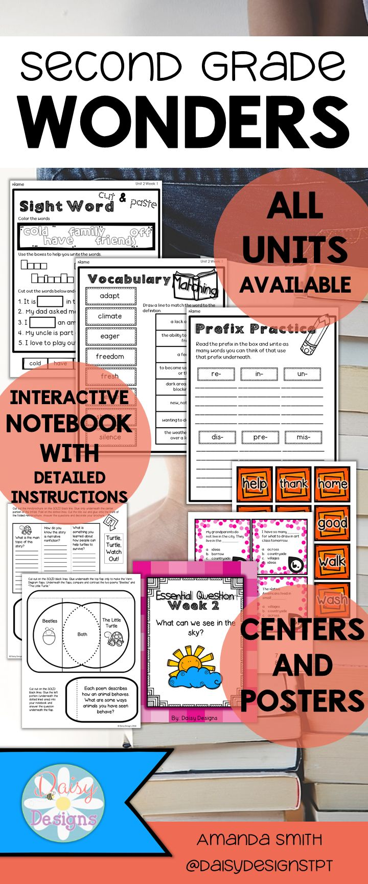 An amazing supplement to McGraw Hill Reading Wonders for Second Grade. No prep, easy printables, full color centers, second grade lesson plans, teaching posters, interactive notebook, and more! All Wonders units are available individually and bundled.