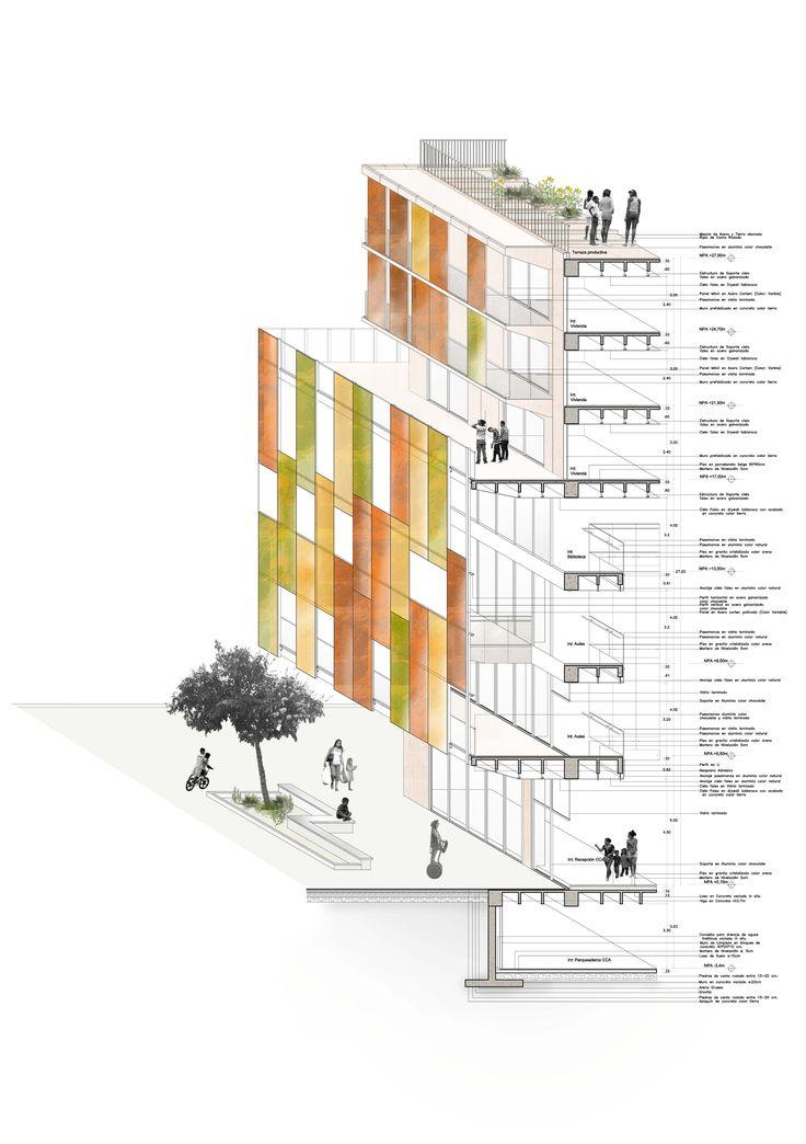 Corte por Fachada. Edificio Híbrido CCA. Manuela Marín. Taller 8