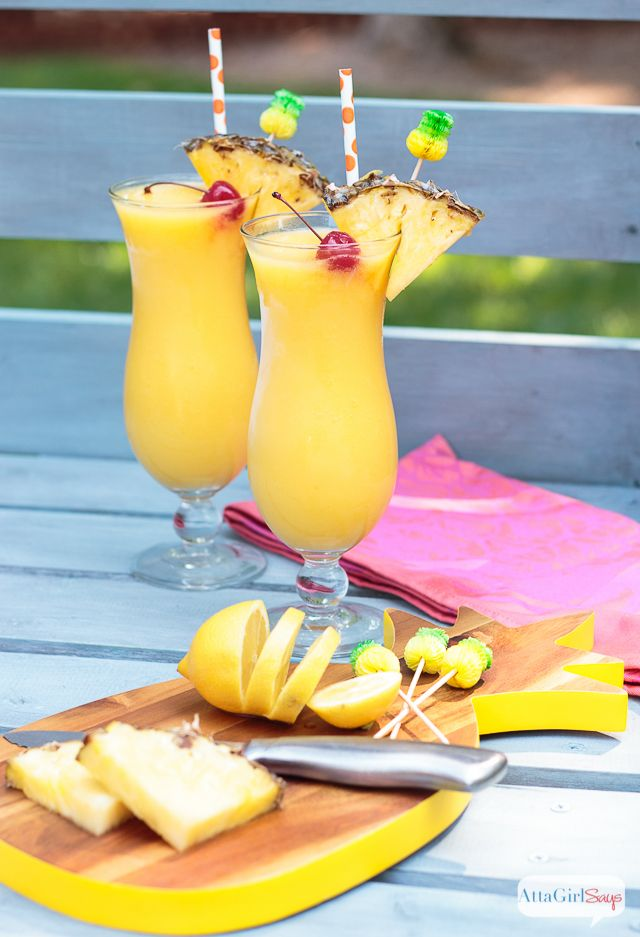 Tropical Frozen Lemonade with Pineapple Rum via Atta Girl Says for Cost Plus World Market www.worldmarket.com #WorldMarket Cocktail Recipes