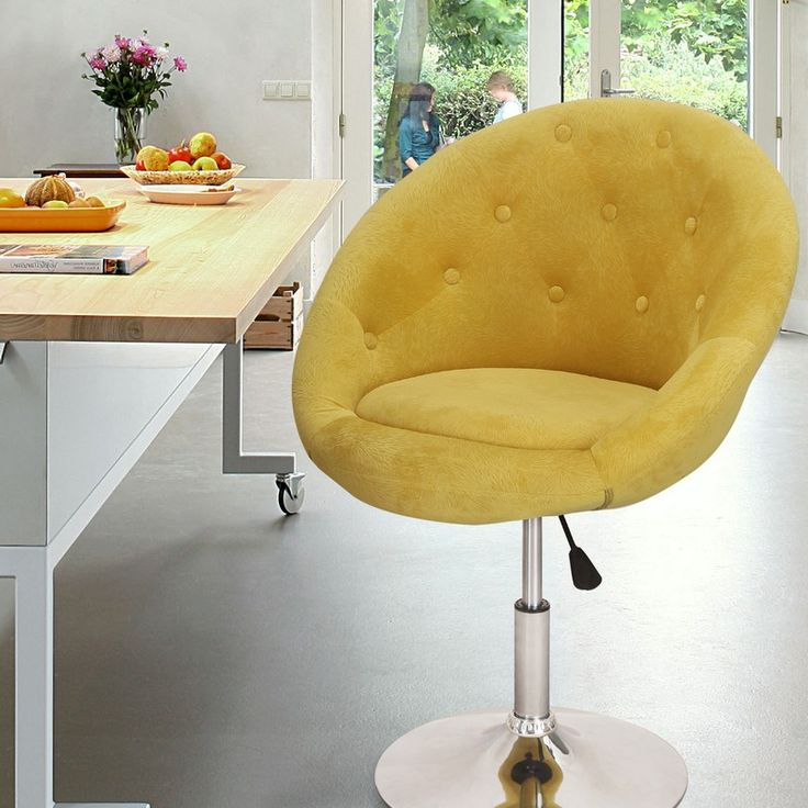 Adeco Yellow Egg Shape Cushioned Velvet Fabric Adjustable Barstool / Office Chair - CH0015-2
