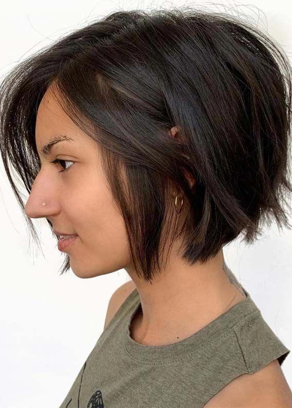 Sensational Short Textured Balayage Bob Haircuts For Ladies In 2019 Bobhairstylesforfinehair Kapsels Kapsels Voor Kort Haar Bob Kapsel Voor Dik Haar