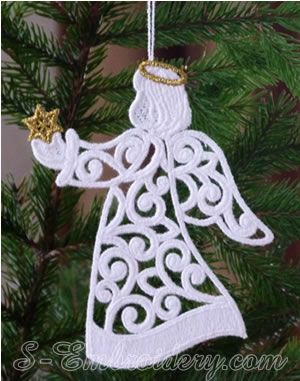 10625 Christmas angel free standing lace ornament   s-embroidery .com