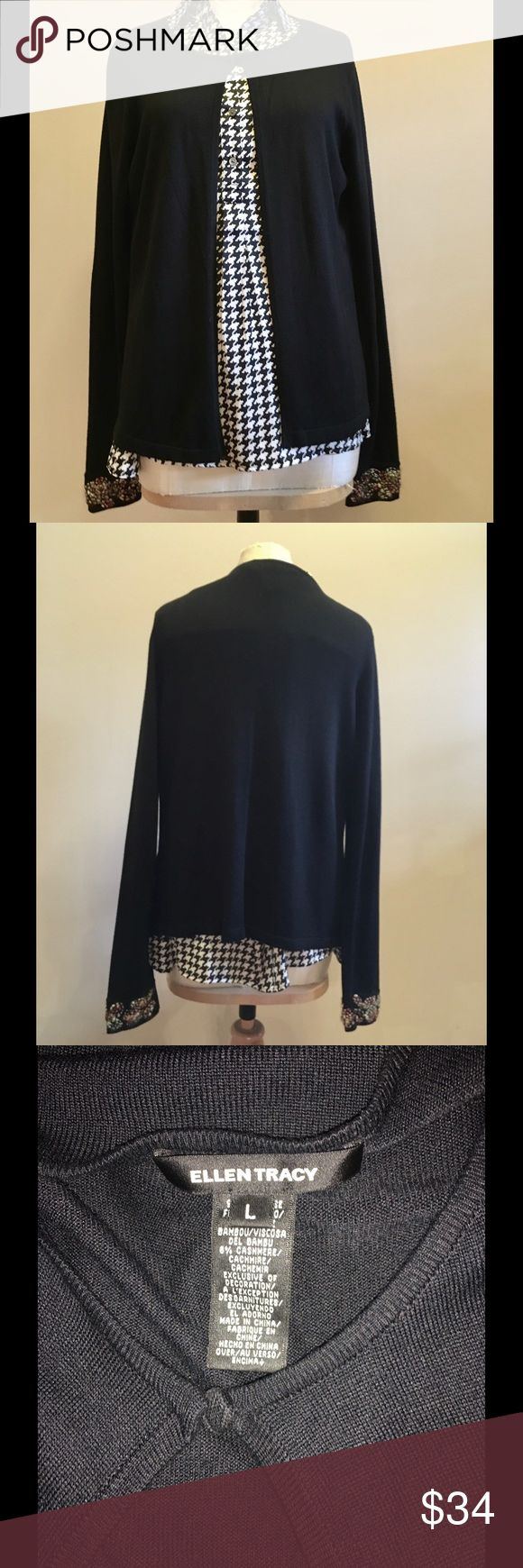 Ellen Tracy Black Embroidered Sleeve Cardigan Ellen Tracy Black Embroidered Sleeve Cardigan size large. Made with 92% viscose and 8% cashmere. It has a simple top button closure at the front top and the sleeve design is simply amazing as you can see in the last picture. It is in like new condition. Ellen Tracy Sweaters Cardigans
