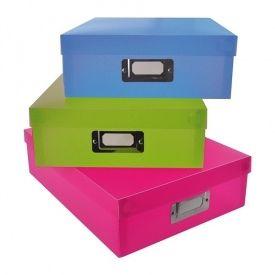 3 boîtes de rangement - 30 x 23 x 8 cm
