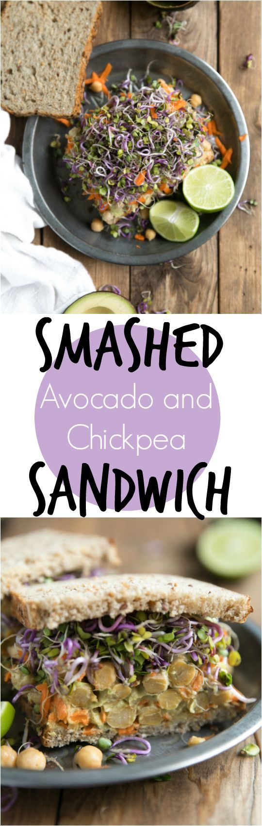 Smashed Avocado and Chickpea Sandwich | Vegetarian #healthy #lunch #recipe #sandwich #avocado #vegetarian