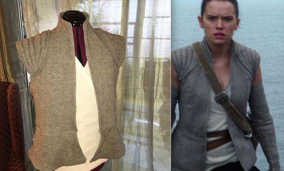 Star Wars The Force ontwaakt Rey weerstand kostuum, Vest en Arm handschoenen handgemaakt op bestelling