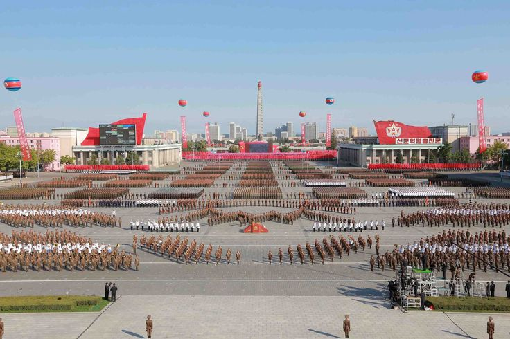 North Korean military participate in a celebration of the 70th anniversary of the founding of the ruling Workers