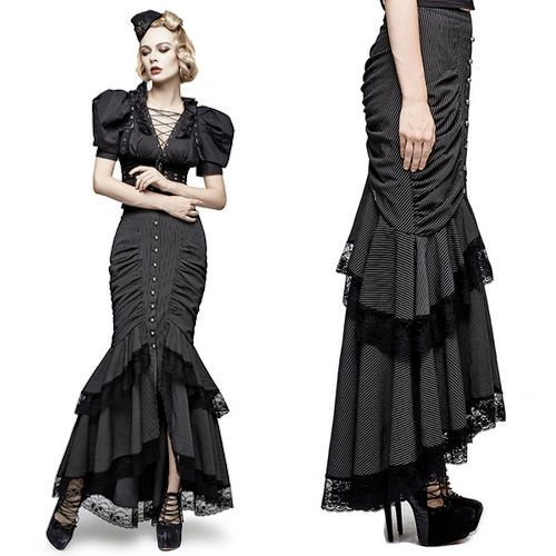 Black Pinstripe Maxi Long Gothic Steam Punk Fishtail Dress Skirts SKU-11406383