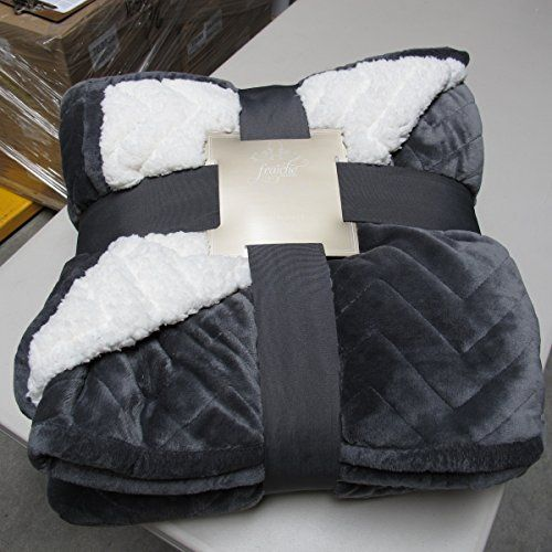 Fraiche maison quilted micro mink sherpa blanket luxurious for Sherpa blanket