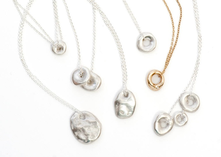 Lucky Stone Necklaces  Sterling silver and gold
