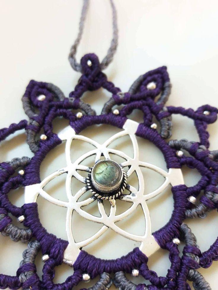 Micromacrame Mandala Necklace with Labradorite Gemstone, Labradorite Macrame Necklace, Macrame Jewelry, Festival Healing Jewelry