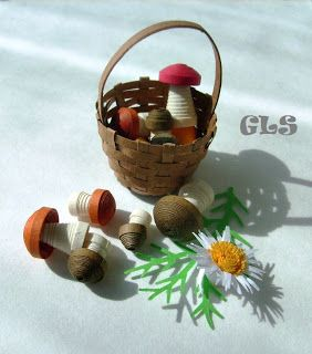 3D Quilling mushrooms and a basket
