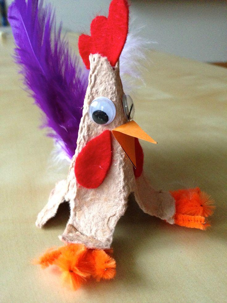 Ein stolzer Hahn aus Eierkarton #bastelnmitKindern, #Ostern, #bastelnmitEierkarton, #Osterdeko