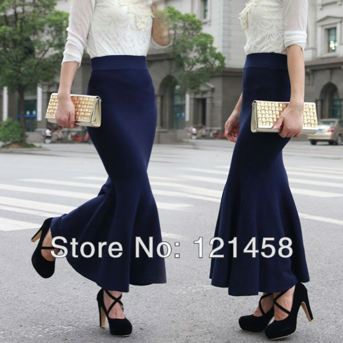 Autumn and winter long knitted wool high hip flounced skirts, red dark blue black high waist long fishtail skirts $16.97