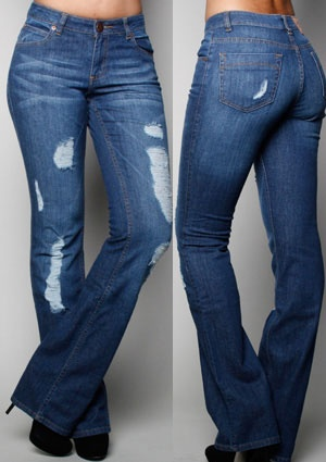 """PZI Jeans are designed specifically for women who have a waist that is 10 inches or more smaller than their hips - no more gapping at the waist for an hourglass figure!  We think the Marilyn Jean is a great choice.  A slightly """"destructed"""" look adds a modern twist to this classic jean.  We think this will look great with a simple tee-shirt and a great pair of heels on an hourglass shape."""