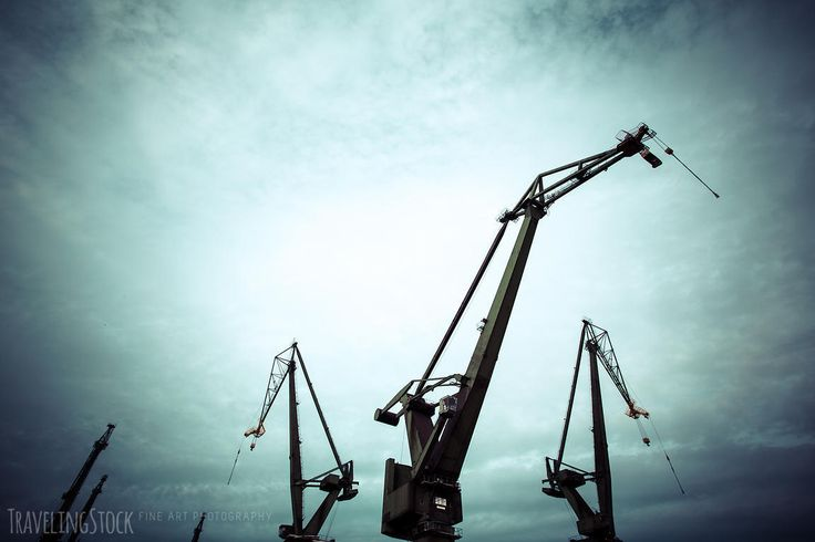 Silhouettes of industrial cranes in Gdansk  shipyard