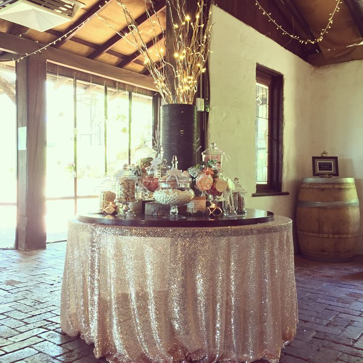 Vintage and Rustic Candy Buffet by Rose and Violet. Rose gold, wine barrels, willow, bark, jarrah wood, fairy lights. Forrest Weddings, Bush Weddings, Old World Charm.