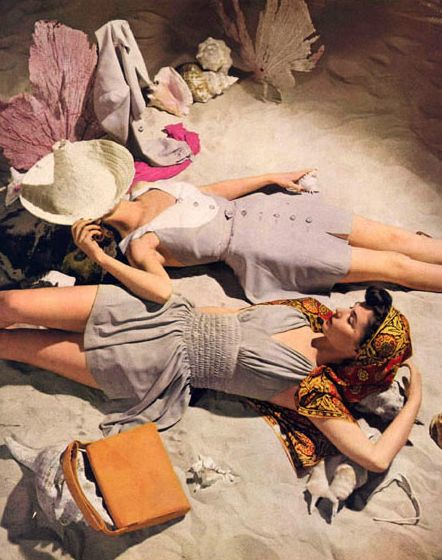 Want that cone shaped hat! 1950s fashion photo (Vogue), John Rawlings